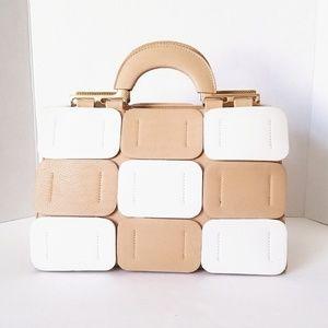 Boutique Tan and White Handbag